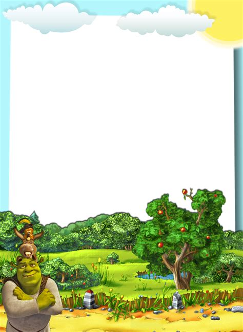 transparent kids png photo frame shrek  friends