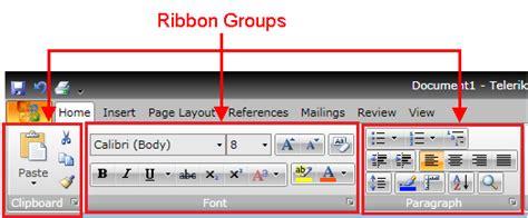 page layout ribbon definition ribbon group ui for silverlight documentation by progress