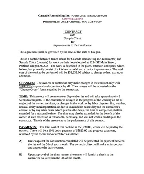 remodeling contract templates pages docs word