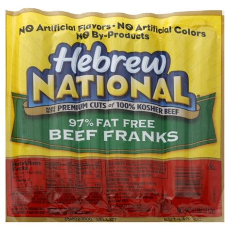 hebrew national dogs hebrew national franks beef 97 free 7 ct
