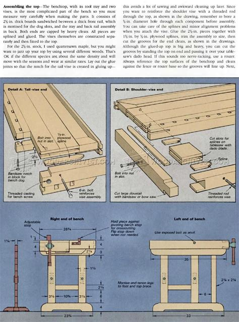 classic workbench plans woodarchivist