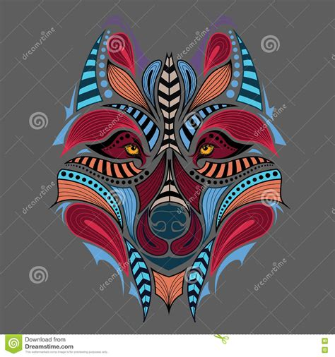 patterned colored of the indian patterned colored of the wolf stock vector