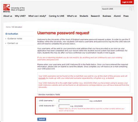 Request Letter User Id Password Username Password Request Guidance Notes Uwe Bristol