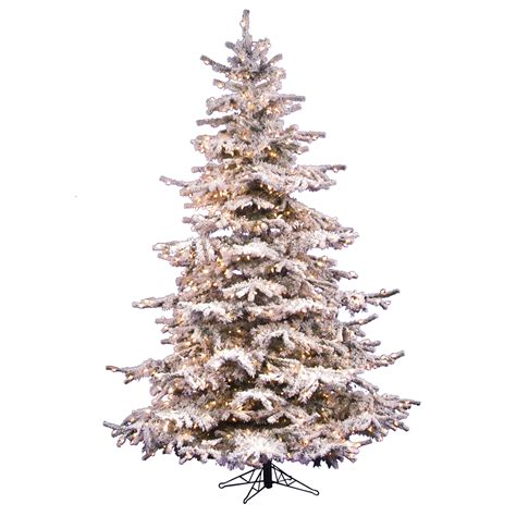 10 foot flocked sierra fir christmas tree all lit lights