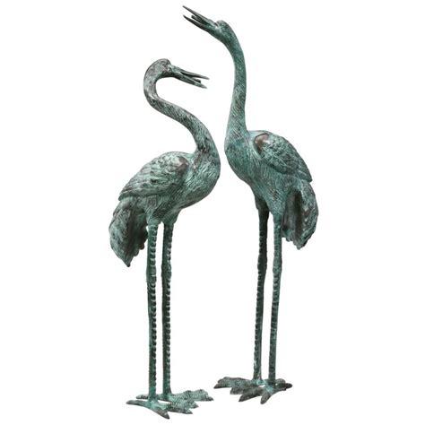 outdoor statues shop design toscano set of 2 large bronze crane garden statues at lowes
