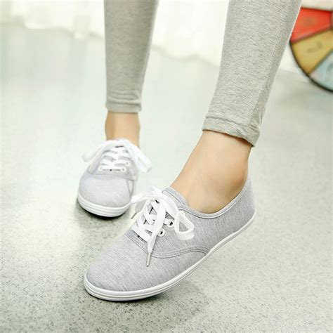 tennis shoes flat womens canvas shoes lace up casual sneakers flats