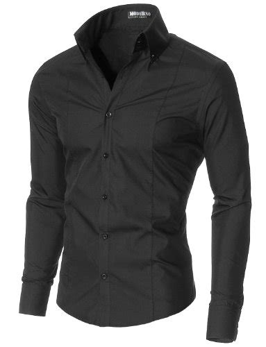 Black Dress Shirt Button Collar by Moderno Mens Dress Shirts Slim Fit Sleeve High Button