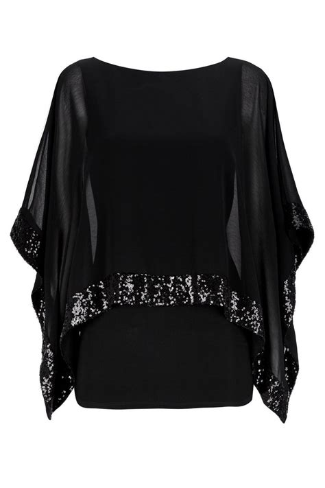 Top Clothing black sequin overlay top tops clothing wallis