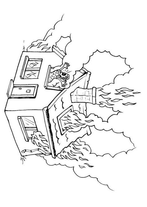 coloring page of house on fire coloring page house on fire img 8176