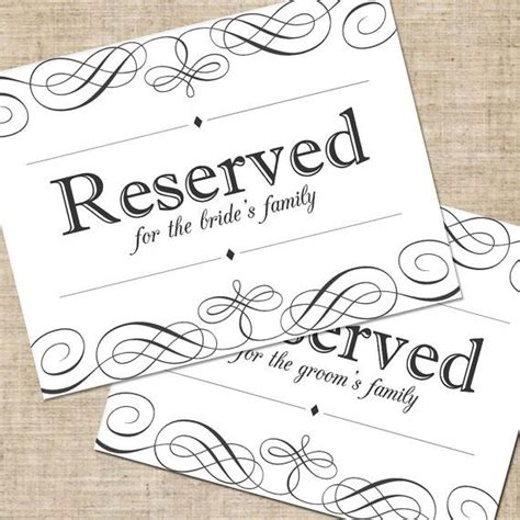 printable diy wedding reserved seating sign for tables or