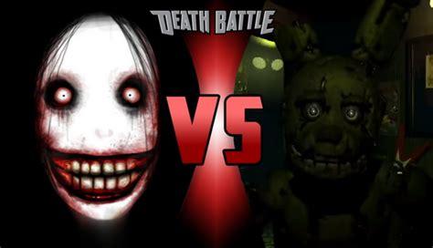 jeff the killer vs chica battle jeff vs springtrap by gimmyjibbsjr