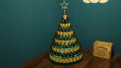 rum bottle xmas tree whiskey bottle tree diy made by forty