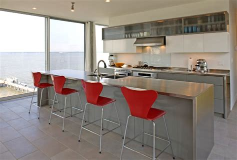 modern kitchen with red cabinets decoist 15 kitchens with stainless steel countertops