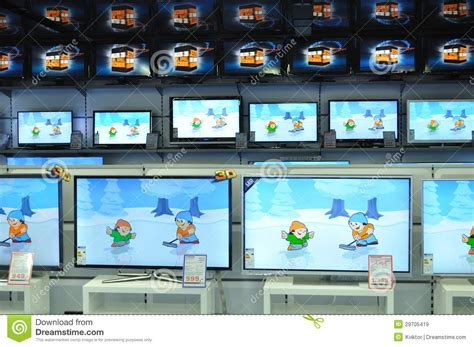 electronic section wall of televisions at store editorial stock image image