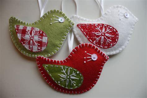 christmas felt bird ornaments set of 3
