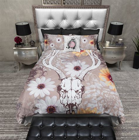 deer bedding sets taupe deer skull and daisy duvet bedding sets ink and rags