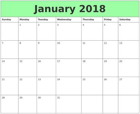 printable calendar january 2018 january 2018 printable calendars