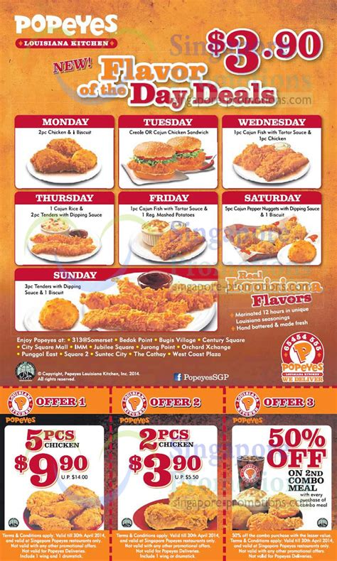 Home Decoratives Online Popeyes Daily 3 90 Flavour Of The Day Deals 7 Apr 2014