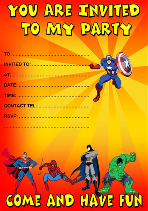 superhero birthday invitation templates diabetesmang info