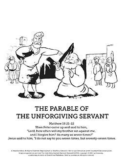 coloring page for the unforgiving servant sunday school lessons school lessons and sunday school on