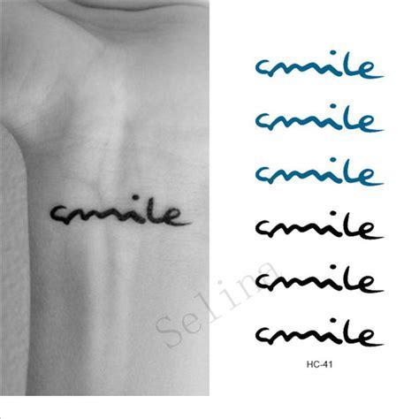 finger tattoo stickers waterproof tattoos smile art letters black tatoo stickers