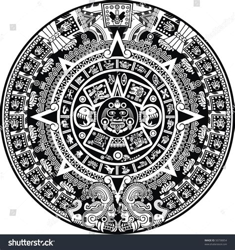 Aztec Calendar Aztec Calendar Stock Vector 50738854