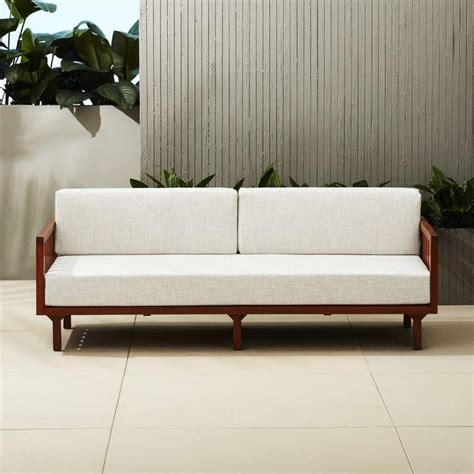 wood arm sofa wooden arm off white upholstered sofa