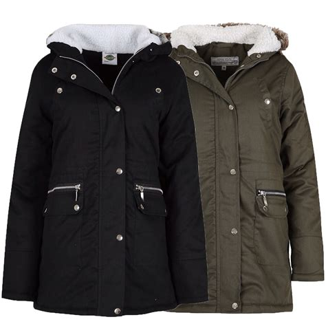 Fleece Coat parka jacket womens coat padded hooded fur sherpa
