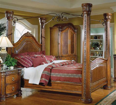 spanish bedroom furniture homelegance spanish hills canopy bed with leather 851 1