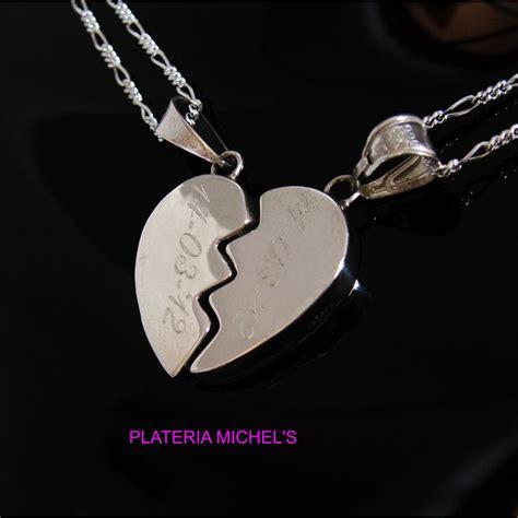 cadenas de plata corazones partidos corazon partido cartoneado chico en plata c dos cadenas