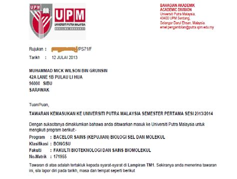 Offer Letter Postgraduate Uitm Begin My New
