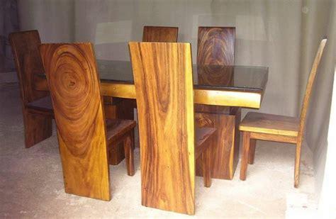 Meja Makan Kayu Trembesi meja makan blok kayu trembesi alami cahaya mebel jepara