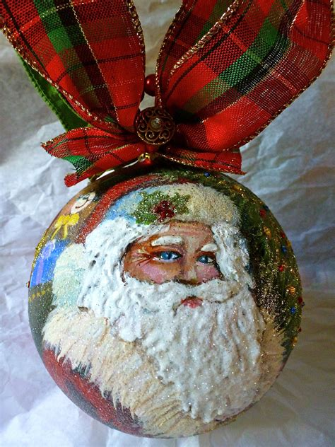 painting ornaments with acrylic paint santa painted ornament