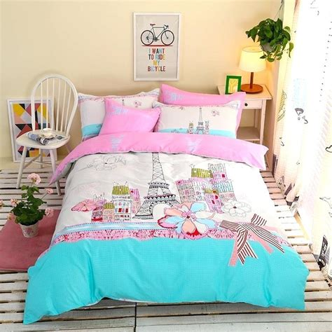 Themed Quilts Bedding by Themed Bedspread Themed Bedding Aqua Pink And White Eiffel Tower Print