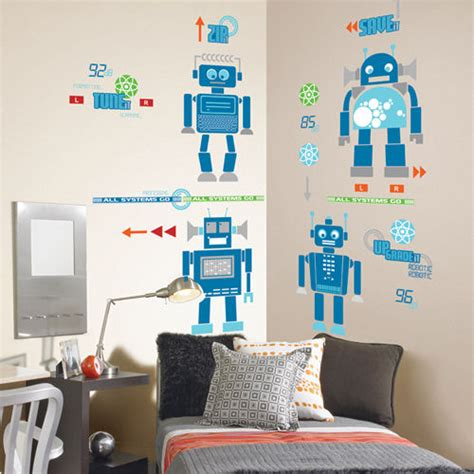 robotic wall robotic room peel and stick appliques kids wall decor store