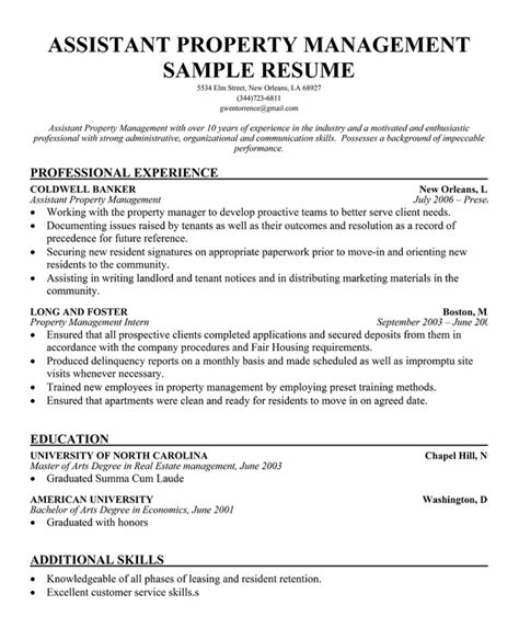 real estate resume sle assistant property manager resume sle printable