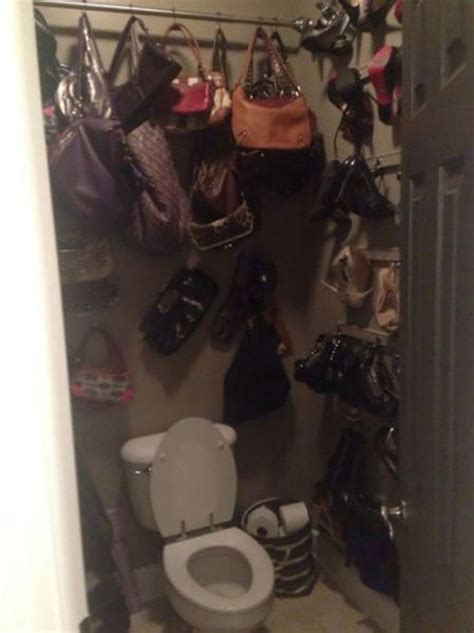 my wife in bathroom my wife ran out of room in her closet shoes handbags in the bathroom wtf
