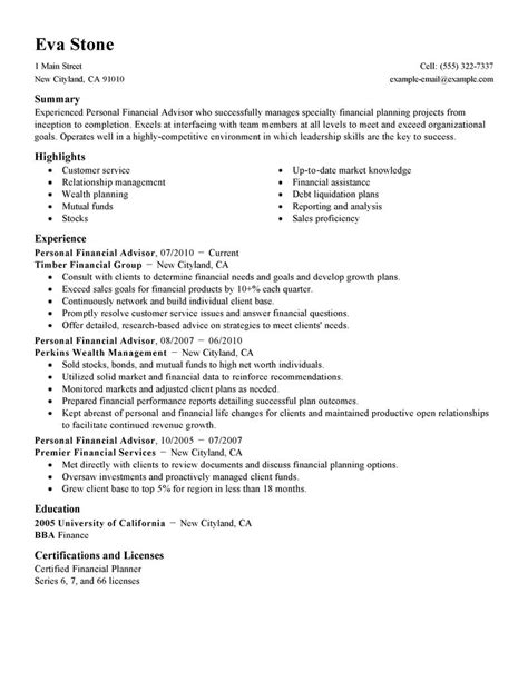 financial advisor resume exles personal financial advisor resume exle finance sle resumes livecareer