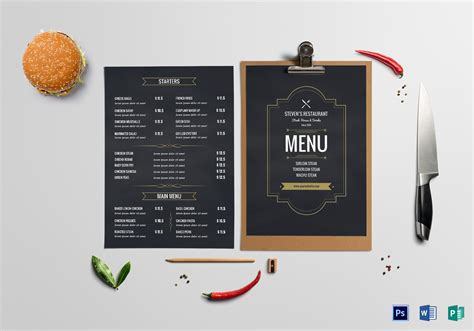 Cafe Menu Board Design Template In Psd Word Publisher Menu Board Template