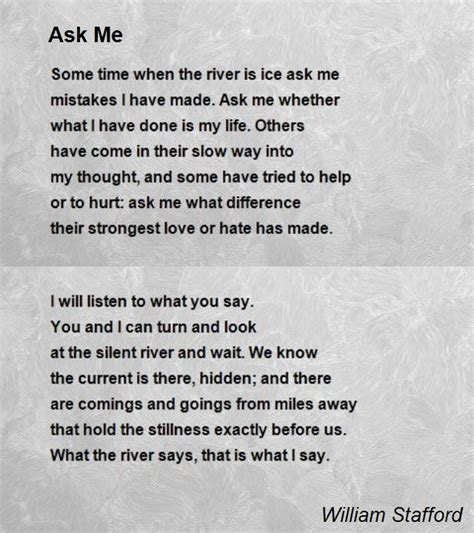 what is an ask ask me poem by william stafford poem hunter