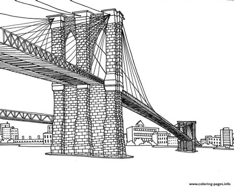 City New York Pont Coloring Pages Printable