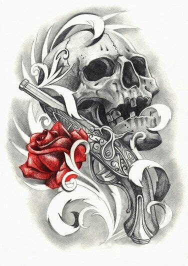 rose and gun tattoos on back red rose and skull and gun