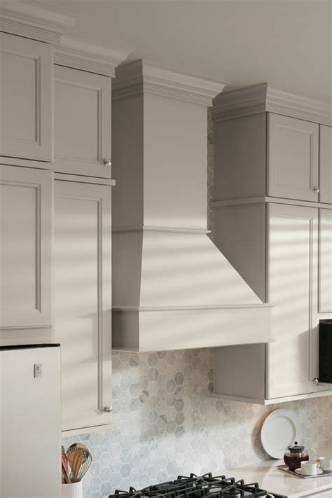 square wood hood tall chimney aristokraft cabinetry