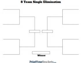 Elimination Tournament Bracket Template by 8 Team Single Elimination Printable Tournament Bracket