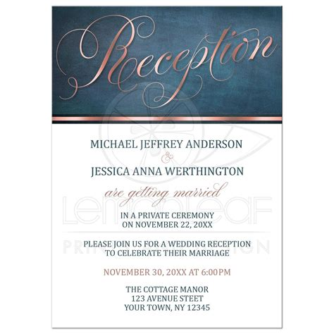 wedding and reception invitation wording sles reception only invitations copper blue