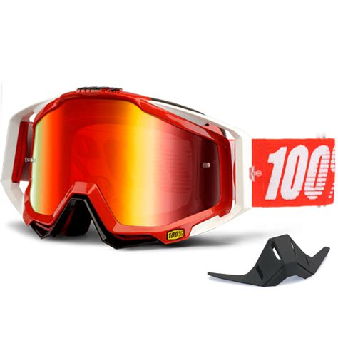 100 percent motocross goggles 100 racecraft goggles fire red mirror lens