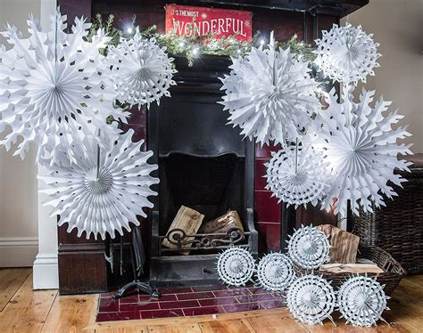 Fold Out Paper Decorations - 58cm hanging snowflake fold out paper fan