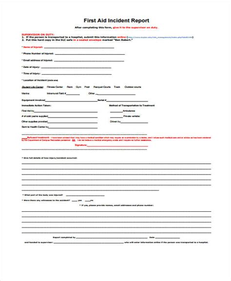 injury report form template incident report form exle