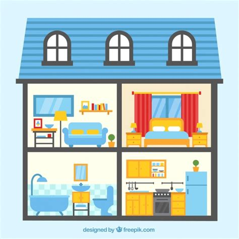 rooms in house colorful house with four rooms vector free download