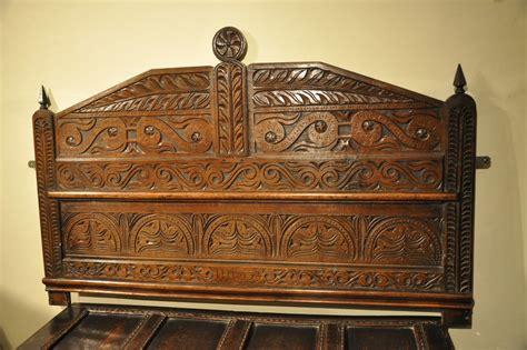 antique oak headboard a wonderful queen anne carved oak headboard initialed i h